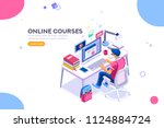 student character studying and... | Shutterstock .eps vector #1124884724