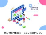 order online concept with... | Shutterstock .eps vector #1124884730