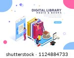 media book library concept. e... | Shutterstock .eps vector #1124884733