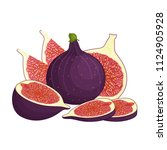 fresh cartoon fruit figs.... | Shutterstock .eps vector #1124905928