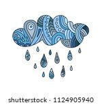 vector hand drawn painted cloud ... | Shutterstock .eps vector #1124905940