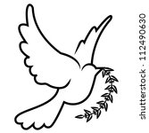 symbol of dove olive branch | Shutterstock . vector #112490630