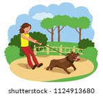 Stock vector angry dog pulls the leash bad dog vector illustration 1124913680