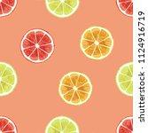 watercolor fresh slice cut... | Shutterstock . vector #1124916719