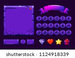 big set cartoon neon purple...