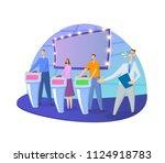 quiz show tv studio with host... | Shutterstock .eps vector #1124918783