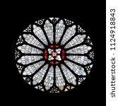 Staned Glass Rose Window Of...