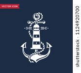 nautical emblem with anchor ... | Shutterstock .eps vector #1124920700