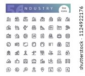 set of 56 industry line icons... | Shutterstock .eps vector #1124922176