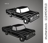 old retro pickup truck vector...   Shutterstock .eps vector #1124924513