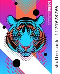 cover with design of tiger's... | Shutterstock .eps vector #1124928296