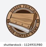 screen printing logo design ... | Shutterstock .eps vector #1124931980