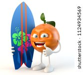 funny 3d fruit character with... | Shutterstock . vector #1124934569