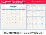 calendar planner for 2019 year. ...   Shutterstock .eps vector #1124940203