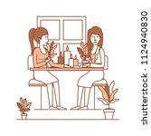 women in the table drinking... | Shutterstock .eps vector #1124940830