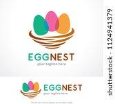 egg nest logo template design ... | Shutterstock .eps vector #1124941379