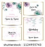 watercolor flowers blossom card ... | Shutterstock .eps vector #1124955743