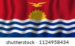 kiribati realistic waving flag... | Shutterstock .eps vector #1124958434
