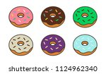 set of  colorful donuts in flat ... | Shutterstock .eps vector #1124962340
