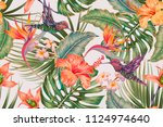 tropical floral seamless vector ... | Shutterstock .eps vector #1124974640