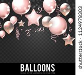 realistic pink glossy and... | Shutterstock .eps vector #1124978303