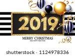 happy new 2019 year  shining... | Shutterstock .eps vector #1124978336