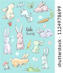 big collection of cute cartoon... | Shutterstock .eps vector #1124978699