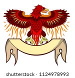 phoenix rose from the flames... | Shutterstock .eps vector #1124978993