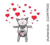 cat in love  valentine kitten... | Shutterstock .eps vector #1124979533