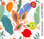 exotic tropical garden.... | Shutterstock .eps vector #1124979869
