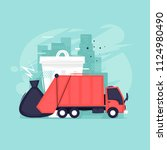 garbage removal  processing ... | Shutterstock .eps vector #1124980490
