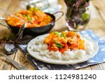 chicken in sweet and sour sauce ... | Shutterstock . vector #1124981240