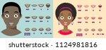 cartoon talking black woman and ... | Shutterstock .eps vector #1124981816