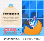 a girl is sitting in a bag... | Shutterstock .eps vector #1124987480