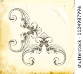 retro baroque decorations... | Shutterstock .eps vector #1124987996