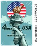 hand of the statue of liberty ... | Shutterstock .eps vector #1124993606