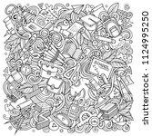 cartoon vector doodles school... | Shutterstock .eps vector #1124995250