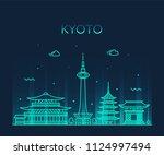 kyoto skyline  japan. trendy... | Shutterstock .eps vector #1124997494