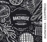 bakery top view frame on chalk... | Shutterstock .eps vector #1124998013