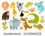 big set of vector animals.... | Shutterstock .eps vector #1125006323
