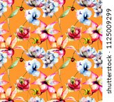 floral seamless wallpaper ... | Shutterstock . vector #1125009299