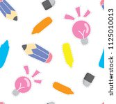 school supply pattern... | Shutterstock .eps vector #1125010013