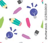 school supply pattern... | Shutterstock .eps vector #1125010019
