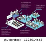 isometric flat 3d abstract... | Shutterstock . vector #1125014663