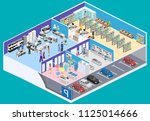 isometric interior shopping... | Shutterstock . vector #1125014666