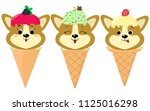 a set of three cute corgi... | Shutterstock . vector #1125016298