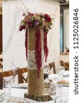 wedding table setting in rustic ... | Shutterstock . vector #1125026846