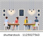 Stock vector modern cafe with young people interior restaurant creative office coworking center university 1125027563