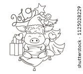 cute cartoon pig in love with... | Shutterstock . vector #1125028229