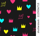 repeated crowns and hearts.... | Shutterstock .eps vector #1125036713
